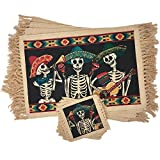 quest table - SpiritFest Sugar Skull Placemats & Coasters: Set of 8 Day of the Dead Kitchen & Dining Table Decor Made with 100% Washable Cotton (Mariachi)