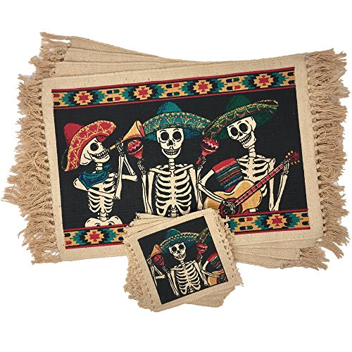SpiritFest Sugar Skull Placemats & Coasters: Set of 8 Day of the Dead Kitchen & Dining Table Decor Made with 100% Washable Cotton (Mariachi)