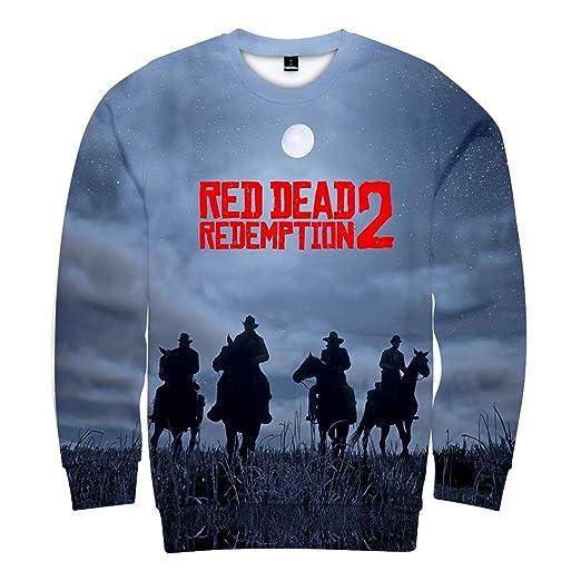 YUANOU Otoño E Invierno Nuevo, Red Dead Redemption 2 Impresión Digital 3D Suéter De Manga Larga Cuello Redondo Hombres Y Mujeres Niño Moda Camisetas ...
