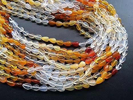 1 Strand naturales mexicano fuego Opal - Estor (gotas, fuego Opal Collar, 5 x 8 mm - 6 x 9 mm, 6 inch: Amazon.es: Hogar