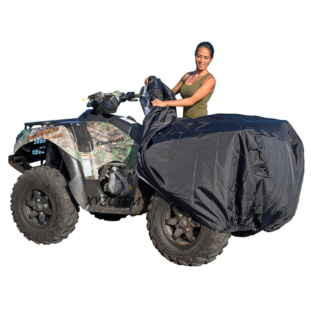 XYZCTEM Waterproof ATV Cover, Heavy Duty Black Protects 4 Wheeler From Snow Rain or Sun, Large Universal Size Fits 100 inch For Most Quads, Elastic Bottom Can Be Trailerable At High Speeds by XYZCTEM