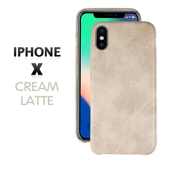 big sale 4cbd2 962fe Amazon.com: iPhone X Premium Cream Leather Case Best Ultra Slim Fit ...