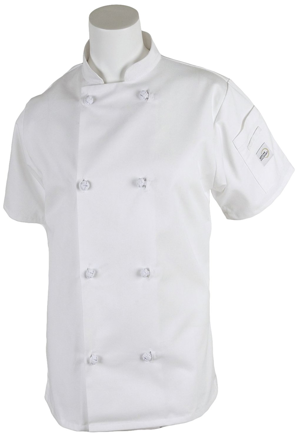 Mercer Culinary M60024WHXS Millennia Women's Short Sleeve Cook Jacket with Cloth Knot Buttons, X-Small, White