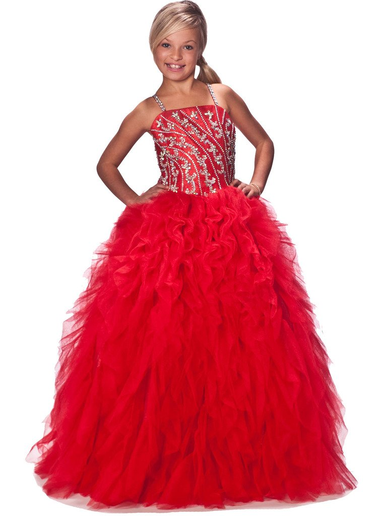 GreenBloom Girls'Princess Ball Gowns Crystal Ruffles Pageant Dresses 16 US Red