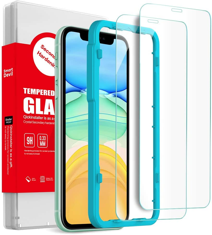 (2 Pack) SmartDevil Screen Protector for iPhone 11,iPhone XR, [Anti-Fingerprint] [Bubble Free] [Case Friendly] HD Tempered Glass Film with Easy Installation Kit Compatible with iPhone XR [6.1 Inch]