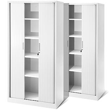 Büroschrank weiß 2er Set Rolladenschrank T001, Jalousieschrank, Aktenschrank ...