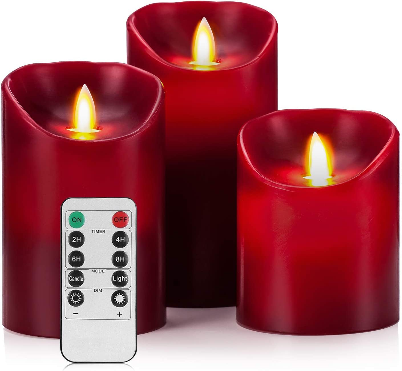 3 Wick LED Flameless Scented Candle with Remote Cranberry NEW