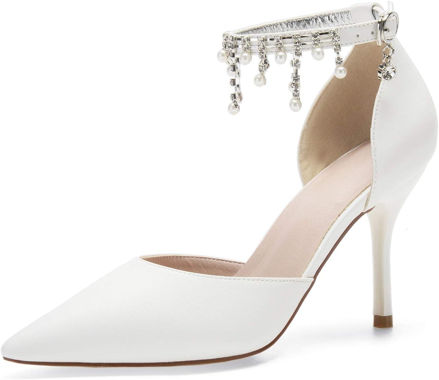 Elobaby Femmes Pompes De Mariée Chaussures De Mariage PU