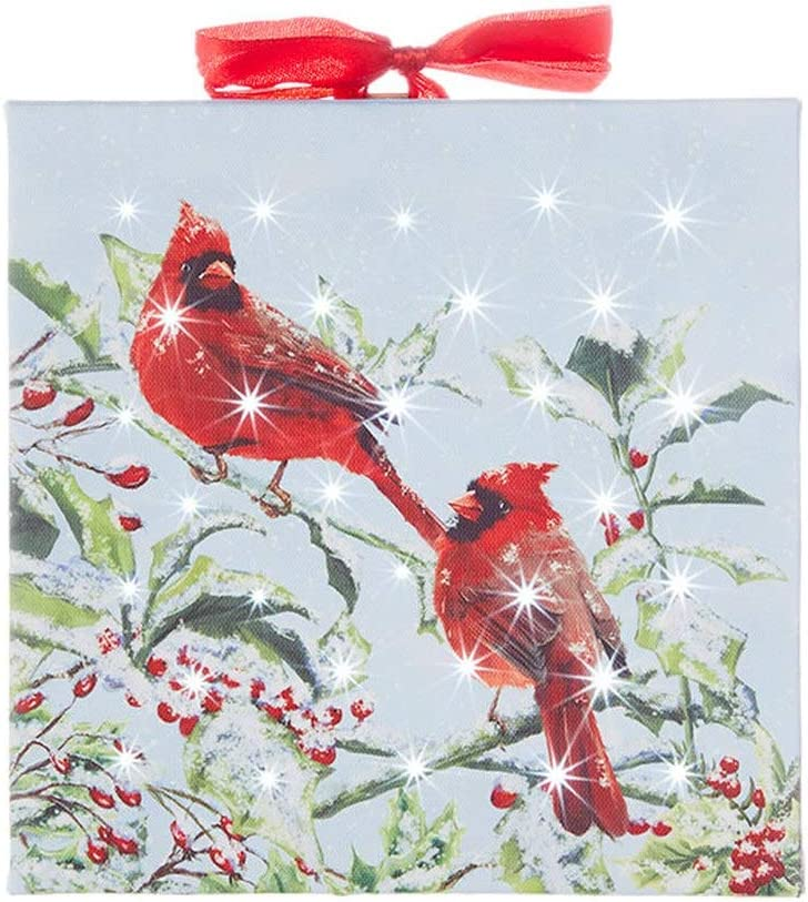 """RAZ Imports Home for The Holidays 6"""" Cardinal Lighted Print Ornament"""