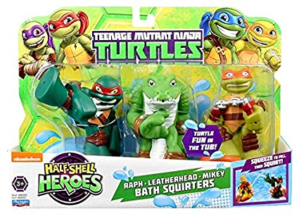Teenage Mutant Ninja Turtles Pre-Cool Half Shell Heroes Michelangelo, Leatherhead and Raphael Bathtub Squirter Figure (Pack of 3)