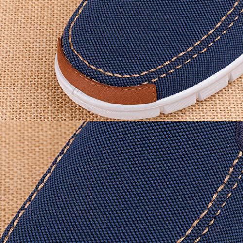 Lona Azul de sólido Hombres Zapatos Mocasines Casual de Plano Alpargatas Zapatillas para q5xwUpa