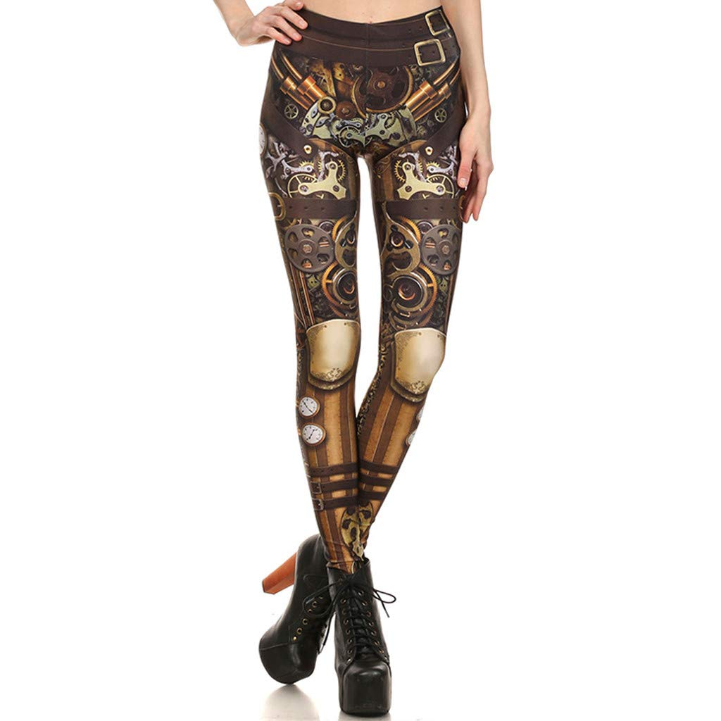 BRISEZZ Pantalon de Sports Femme Pantalon de Yoga Femmes Steampunk R/étro Leggings Bande Dessin/ée Imprimer Pantalon Slim Stretch Yoga Fitness Jogging Gym