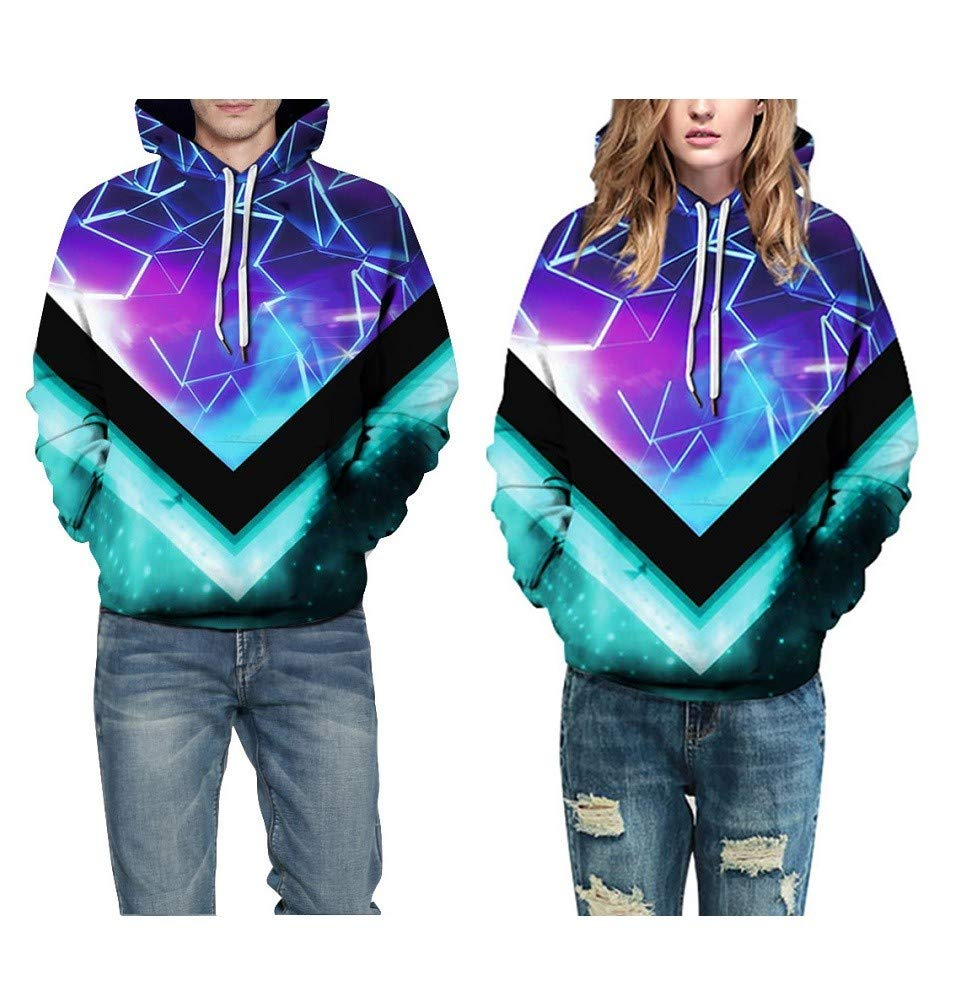 Amazon.com : Mjia 3D Hoodie, Unisex, 3D Digital Starry Sky Pattern, Colorful Hoodie, Long Sleeve Cartoon Christmas Sweatshirt : Sports & Outdoors