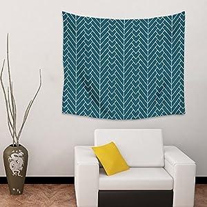 Wall Hanging Tapestry Modern Herringbone Living Room Bedroom Home Dorm Decor Minimalist Pattern Art Tapestries -Teal