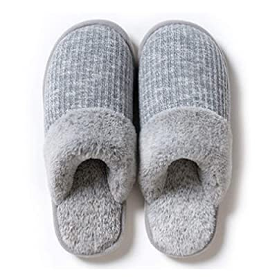 Womens Fuzzy House Slippers Knitted Memory Foam Shoes Indoor Outdoor Anti-Skid Sole | Slippers