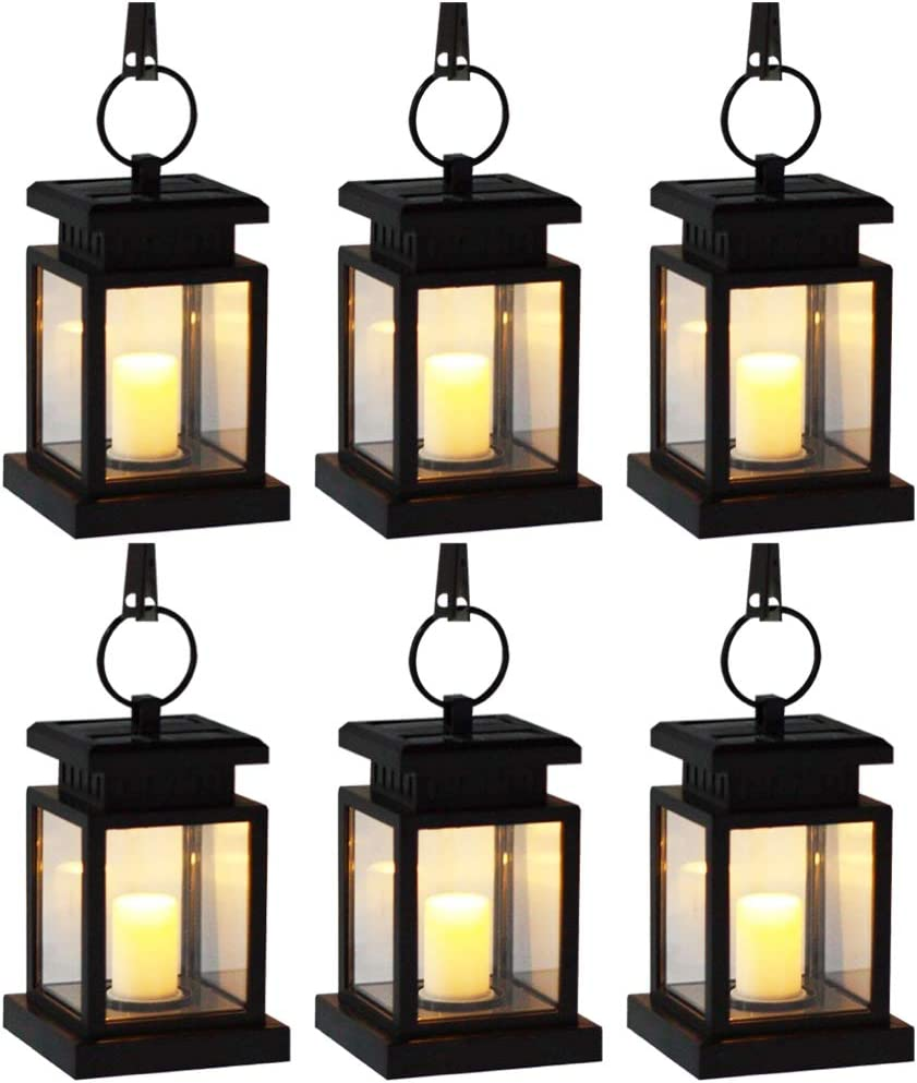 YUMAMEI Solar Lantern Outdoor Lights,Waterproof Hanging Lanterns Solar Yard Lights Auto On/Off Lighting for Garden Decor,Table,Outdoor,Party,Patio,with Warm White Flameless Candles Flickering (6 Pack)