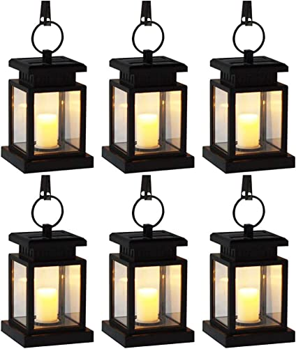 YUMAMEI Solar Lantern Outdoor Lights,Waterproof Hanging Lanterns Solar Yard Lights Auto On Off Lighting for Garden Decor,Table,Outdoor,Party,Patio,with Warm White Flameless Candles Flickering 6 Pack