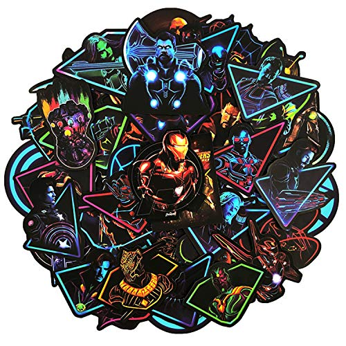 - Neon Super Hero Stickers Marvel Sticker for Water Bottle Skateboard Motorcycle Luggage Waterproof Vinyl Decals for Kids and Adult,Stickers Decal-50pcs