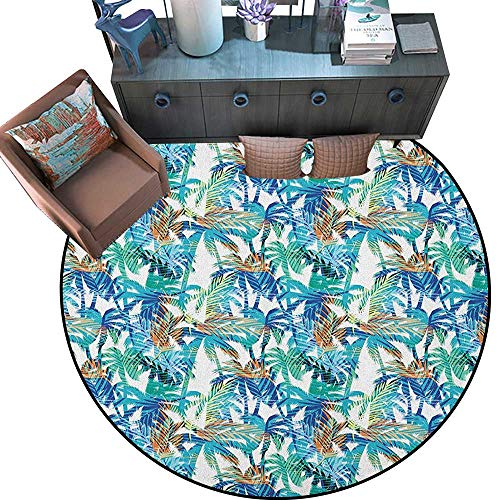 Palm Leaf Circle Rugs Tropical Summer Print with Palm Abstract Nature Pattern Fantasy Dream Living Dining Room Bedroom Hallway Office Carpet (67