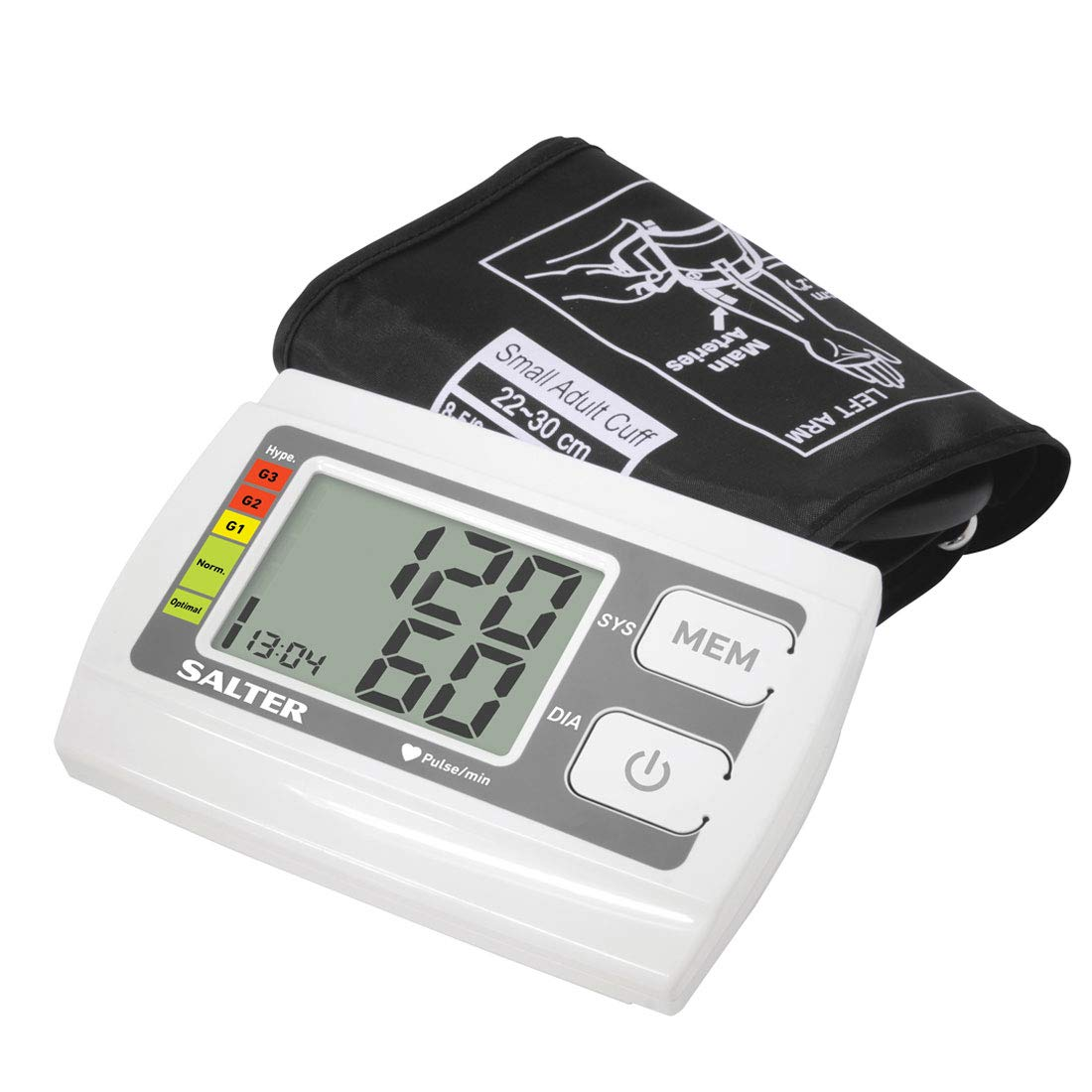 Salter Monitor de presión arterial automático de brazo superior para uso en el hogar, detector de latidos cardíacos, indicador de hipertensión: Amazon.es: ...