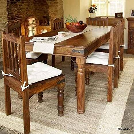 146e0327691 Induscraft 6 Seater Dining Table Set (Light Expresso)  Amazon.in   Electronics