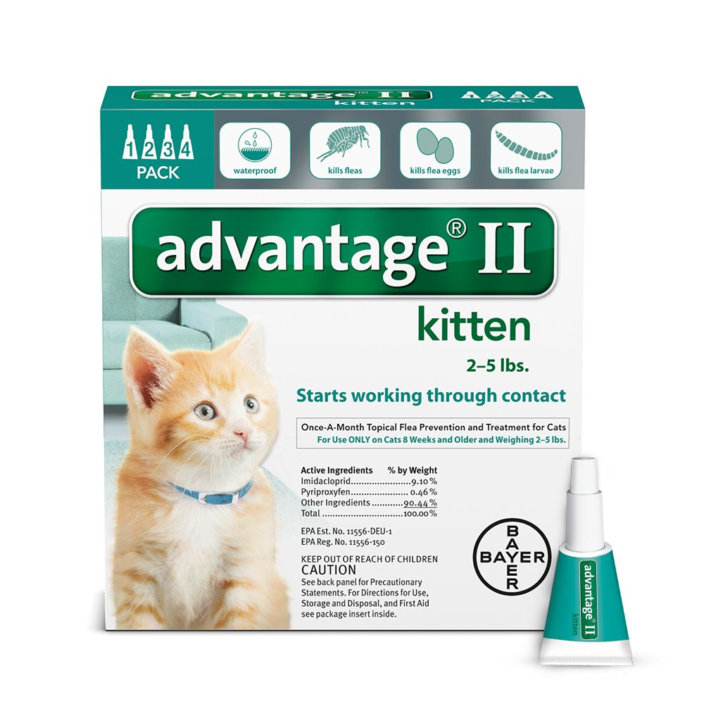 Bayer Advantage II Kitten Flea Treatment for Kittens, 2-5 lb, 4 doses