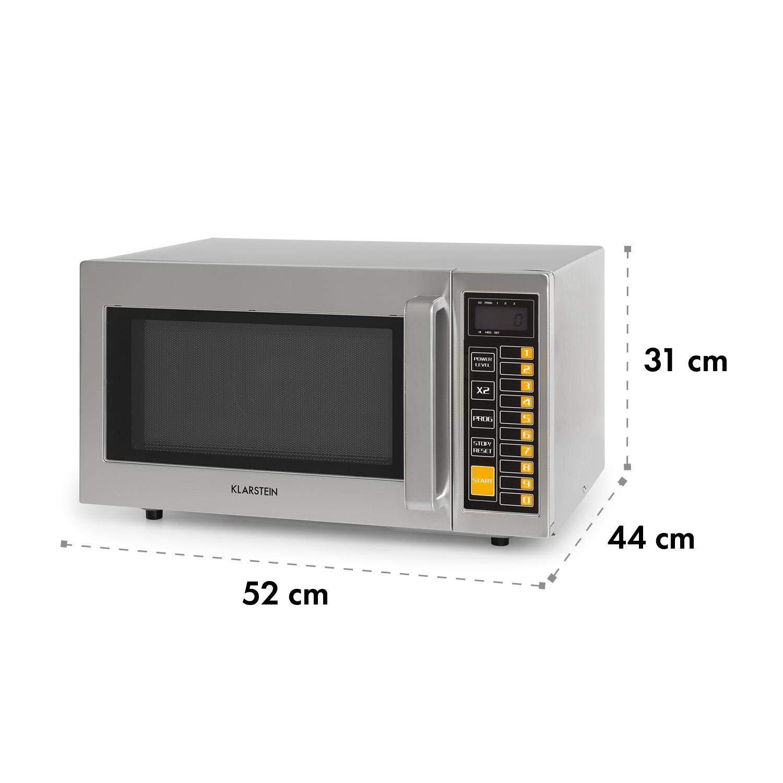 pantalla LCD uso comercial 1000W Klarstein Pro Bestzeit 25 Microondas Profesional 52 x 31 x 44 cm acero inoxidable 3 niveles de potencia gastronom/ía c/ámara de cocci/ón de 25 litros