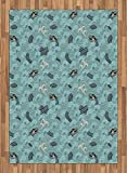 Japanese Wave Area Rug by Ambesonne, Asian Style Pattern with Dragon Figures and Sea Waves Mythology Monster, Flat Woven Accent Rug for Living Room Bedroom Dining Room, 5.2 x 7.5 FT, Teal Grey White