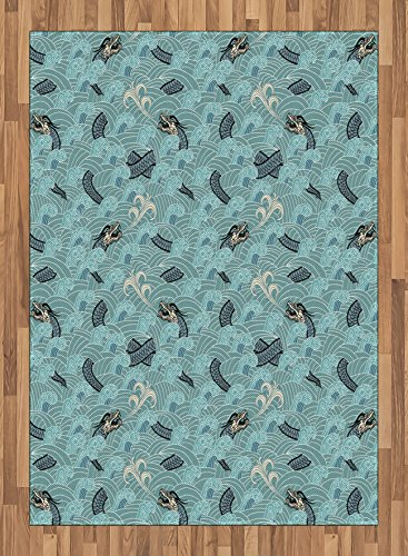 Japanese Wave Area Rug by Ambesonne, Asian Style Pattern with Dragon Figures and Sea Waves Mythology Monster, Flat Woven Accent Rug for Living Room Bedroom Dining Room, 5.2 x 7.5 FT, Teal Grey White by Ambesonne
