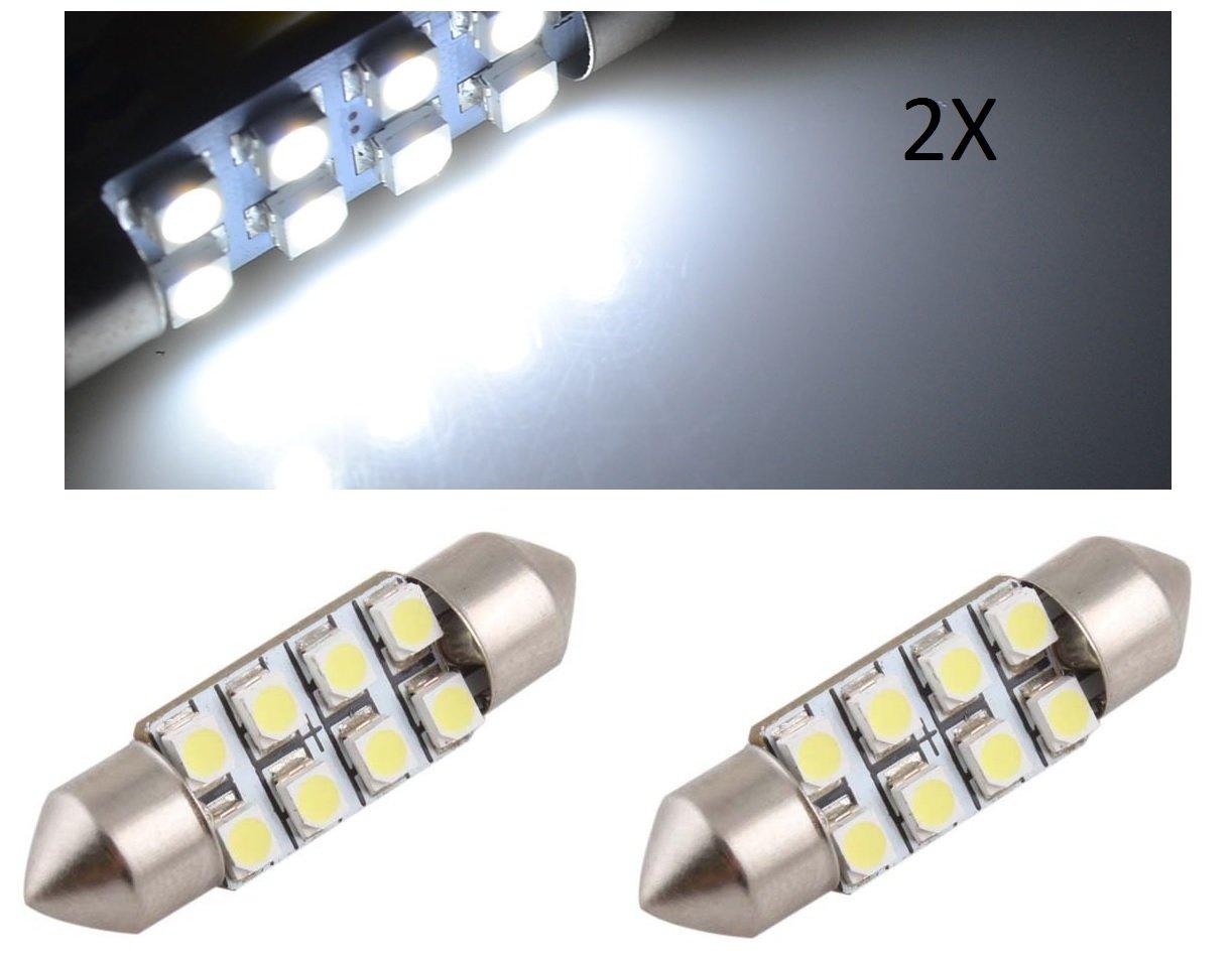 TecnoStore® 2 LUCI siluro TARGA ABITACOLO auto 36mm smd 8 led 3528 LAMPADA lampadina bianca