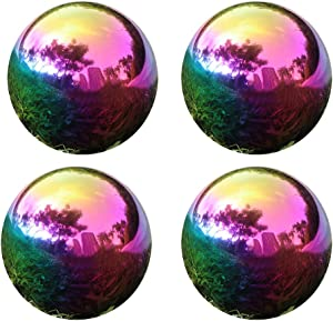 YeahaWo 4 Pack, Rainbow Stainless Steel Gazing Globe, Shiny Polished Gazing Mirror Ball for Garden Home Outdoor Decorations (4 Inch)