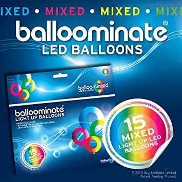 BALLOOMINATE - Globos luminosos en colores surtidos con luz LED,...