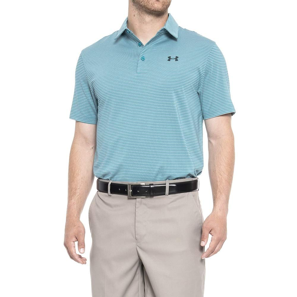 Under Armour Elevated Heather Stripes Polo Medium Pacific
