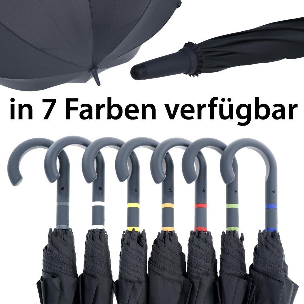 Fiberglas Rahmen 112cm Durchmesser Windfest 90cm L/änge Leicht Stabil Automatik Regenschirm vanVerden Sturmfest Farbe:Anthracite//Grey T/ÜV gepr/üft