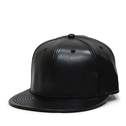 e49695292ff Image Unavailable. Image not available for. Color  Faux Leather Flat Brim  Adjustable Strapback Baseball Cap ...