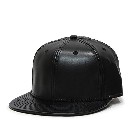 d25ce9b96 Vintage Year Faux Leather Flat Brim Adjustable Strapback Baseball Cap  (Black)