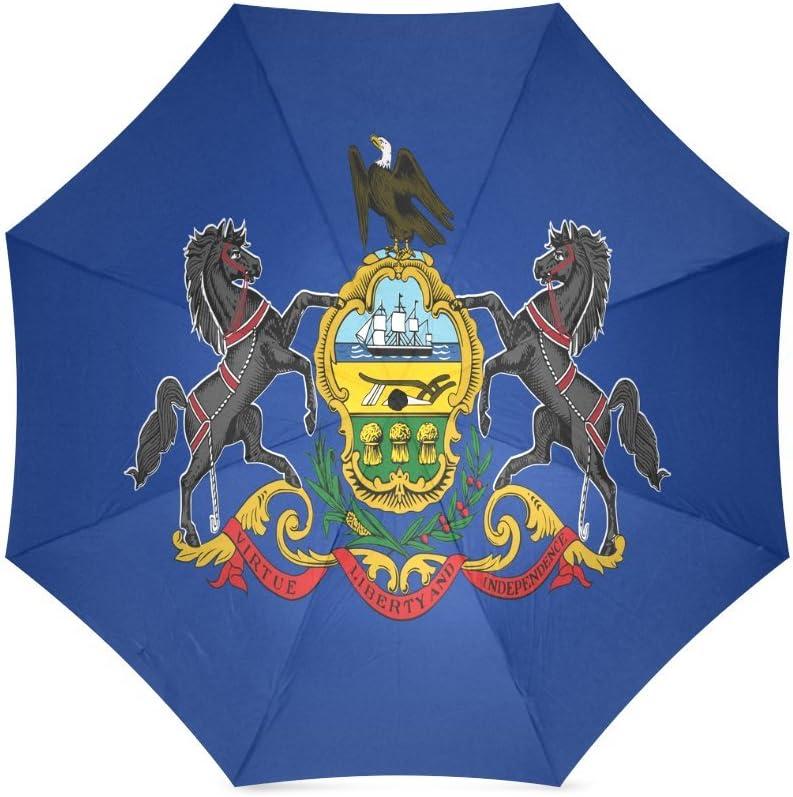 Pennsylvania State Flag Compact Foldable Rainproof Windproof Travel Umbrella