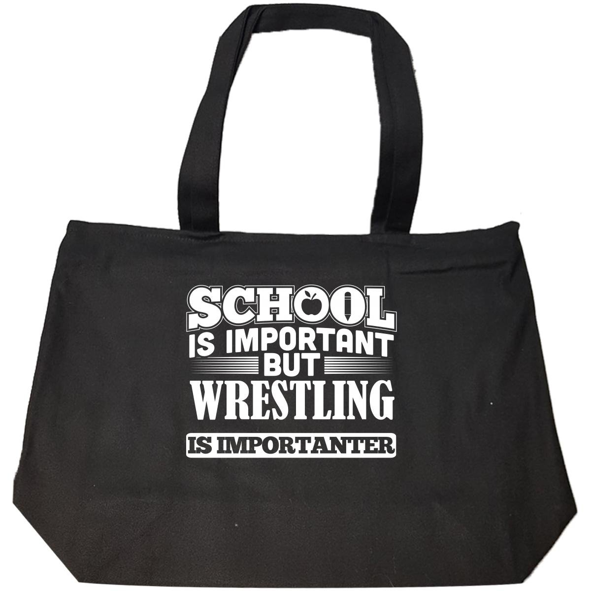 School Is Important But Wrestling Is Importanter - Tote Bag With Zip by Brands Banned