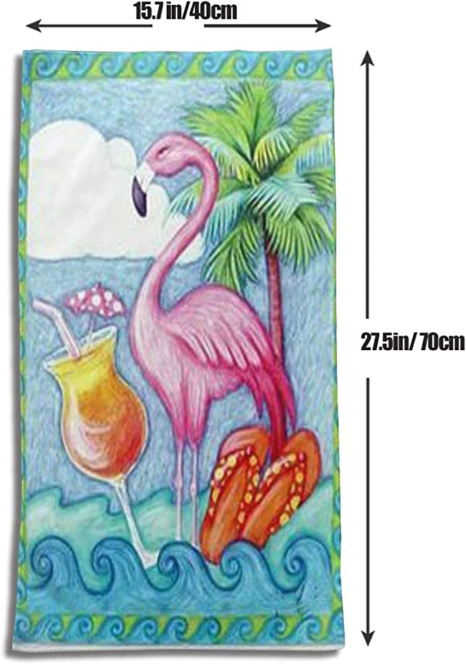 Pink-Flamingos Absorbent Bathroom Towels for Daily Use,Gym,Hotel and Spa 27.5x17.5 Inch
