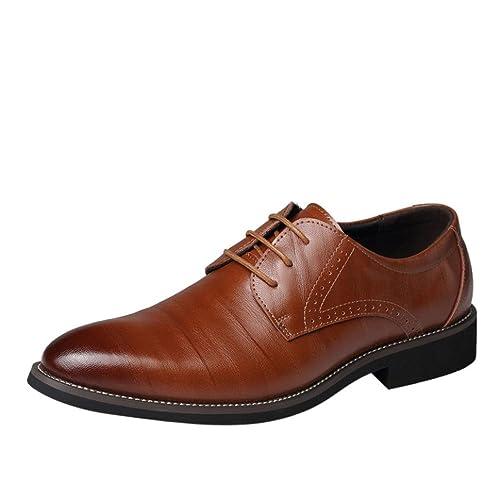Zapatos Oxford Hombre, Cuero Boda Negocios Calzado Vestir,Zapatos con Punta de Cuero para Hombres y Negocios de Hombres: Amazon.es: Zapatos y complementos