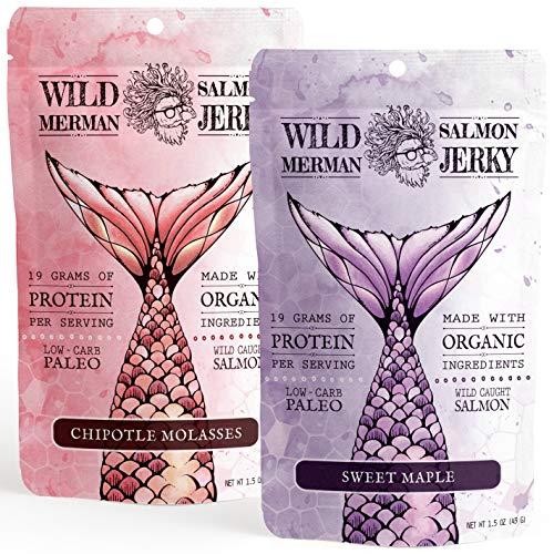 (Wild Merman Salmon Jerky - Paleo - No Cane Sugar - 100% Wild Caught - Organic - Gluten Free (Variety Pack, 2 Pack))