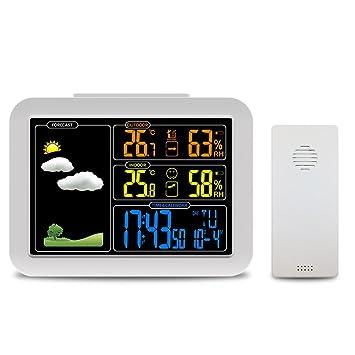 Protmex Estación meteorológica, Atómica Estación meteorológica con Reloj de Alarma, Snooze, Temperatura y Humedad Interior y Exterior: Amazon.es: Jardín