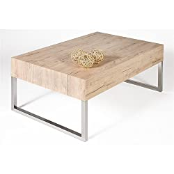 Mobili Fiver, Mesa de centro, modelo Evo XL, color roble natural, 90 x 60 x 40 cm
