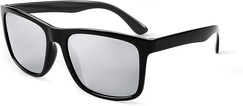 FONHCOO Polarized Sunglasses for Women Men, Oversized Mirrored Sunglasses, TR90 Frame Driving Sunglasses UV400 Protection