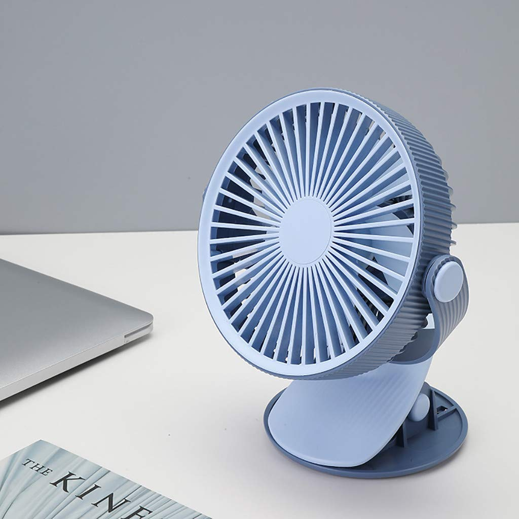 Mini USB Table Desk Personal Fan Desk//Clip Fan 2000mAh Rechargeable Battery Operated Electric Fan for Office Home Traveling Outdoor Metal Design Quiet Operation USB Cable Fan
