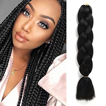 Amazon Com Uhair Black Braiding Hair Extensions Jumbo Braid Crochet Hair Colorful High Temperature Kanekalon Synthetic Fiber Hair Extension Black For Women 100g Pc 1 Pcs Lot Beauty