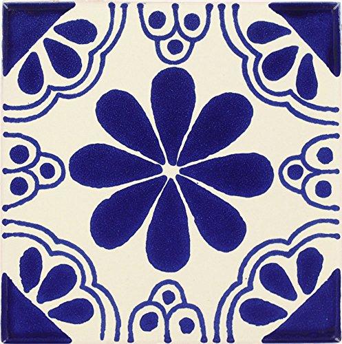 Tierra y Fuego Box of 90-4¼ x 4¼ Blue Isabel - Talavera Mexican Ceramic Tiles