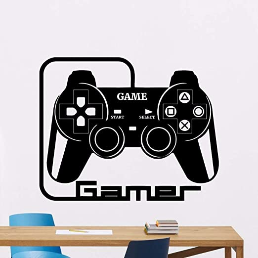 WWYJN Gamer Wall Decal Removable Video Games Vinyl Sticker Home Playroom Decor Gamepad Art Mural Games Style Vinyl Wallpaper Gray 42x34cm: Amazon.es: Hogar