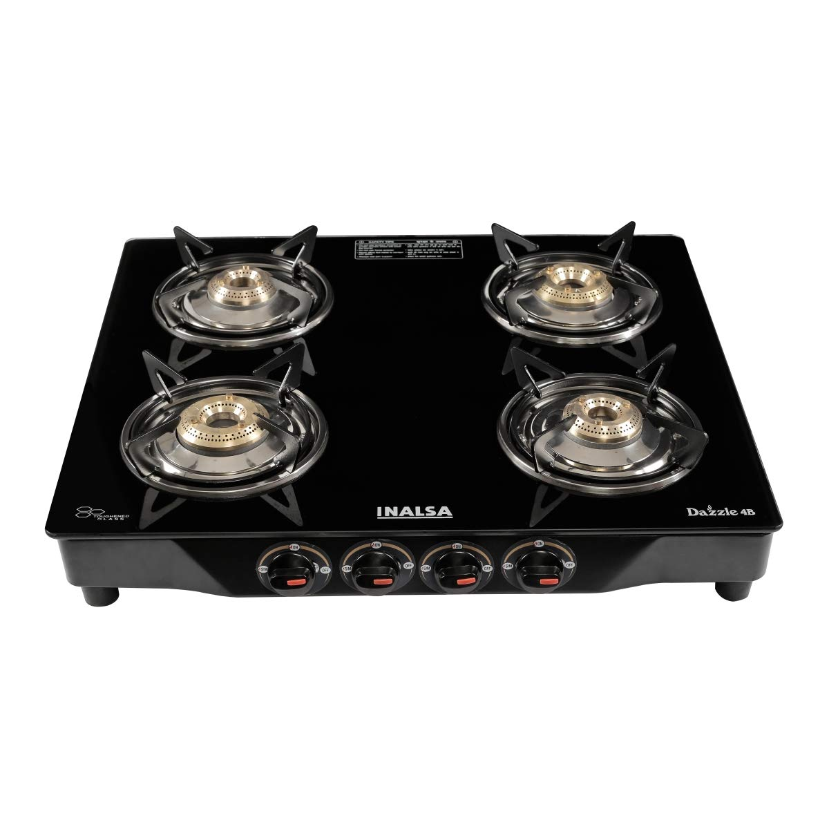 Inalsa Dazzle Glass Top, 4 Burner Gas Stove With Rust Proof