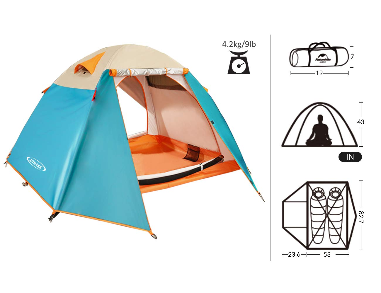 ZOMAKE Lightweight Backpacking Tent 2 Person – 4 Season Waterproof Camping Tent
